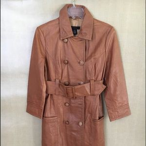 Arden B Rust Leather 3/4 Sleeve Length Trench Coat